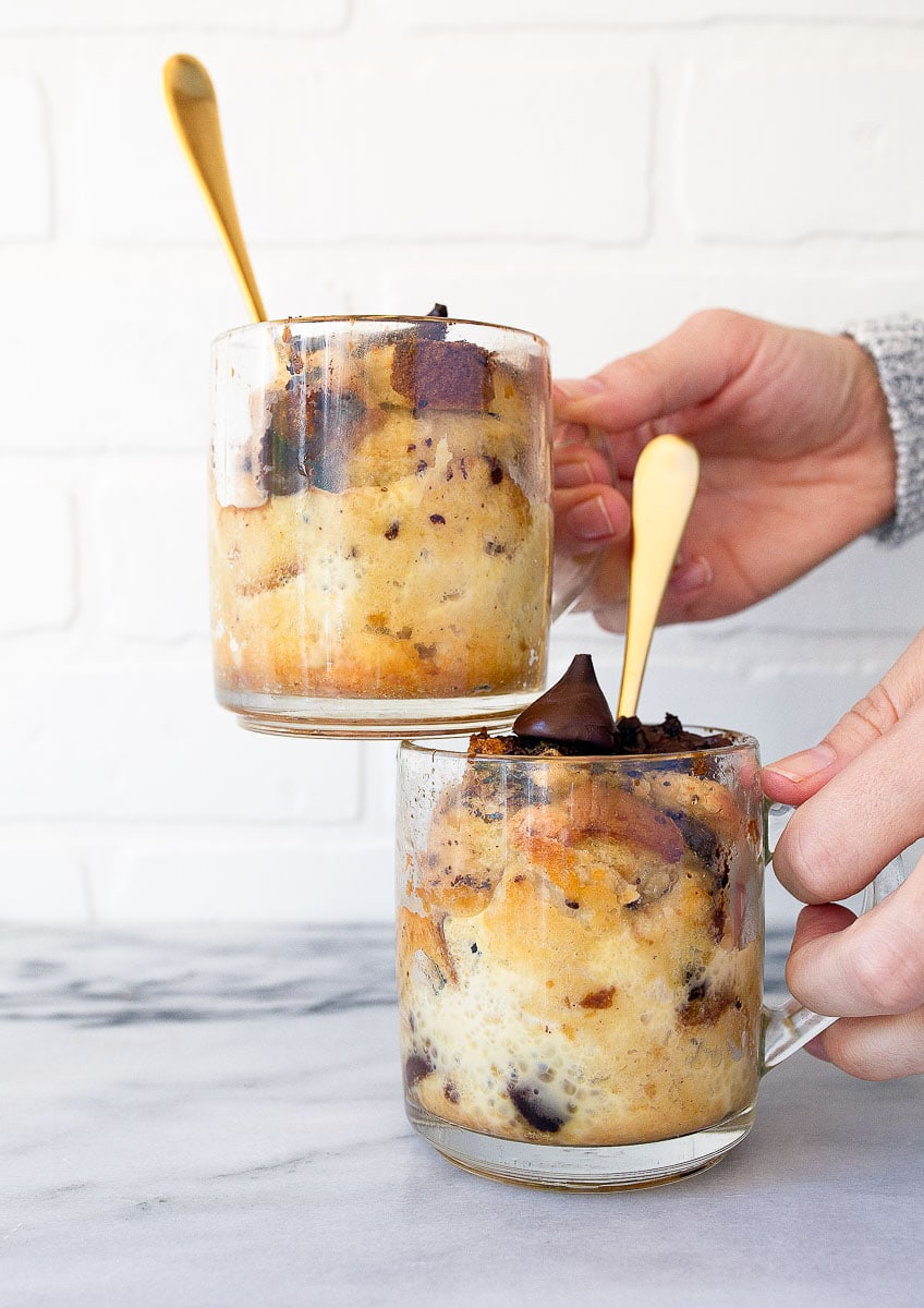 Bread Pudding For Two In Coffee Mugs Dessert For Two