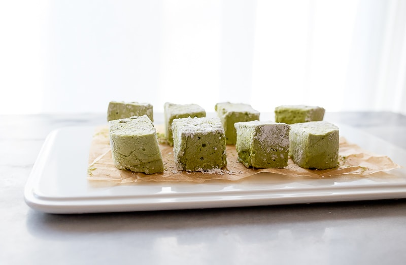 Homemade marshmallows with matcha tea