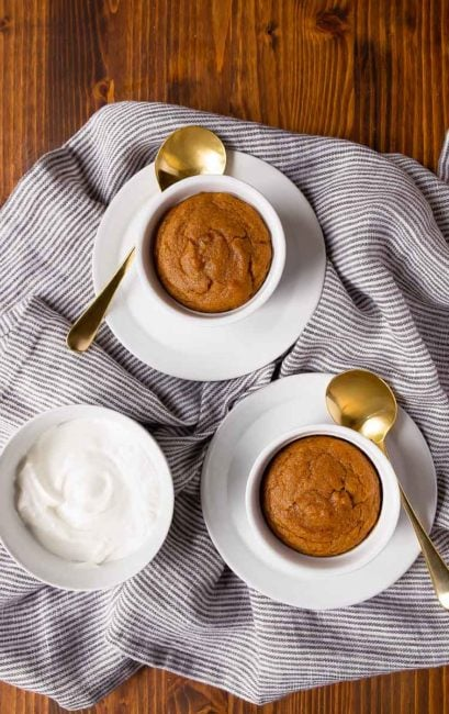 Pumpkin Cakes in Ramekins. Small batch pumpkin cakes for two