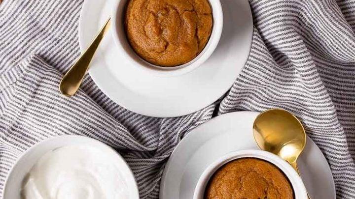 Pumpkin Cakes in Ramekins. Small batch pumpkin cakes for two