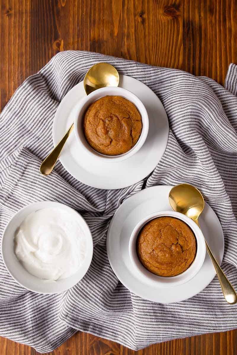 Pumpkin cake for two made in ramekins--a great way to use up leftover pumpkin in the can!