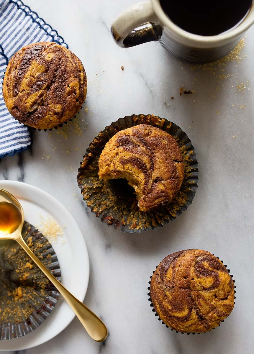 Pumpkin Nutella Muffins. Small batch muffin recipe