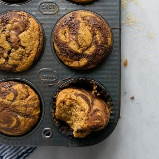 A small batch of pumpkin muffins with Nutella swirl