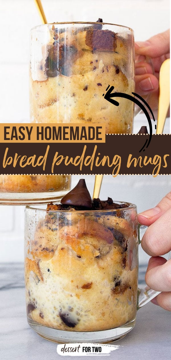 Bread pudding made in mugs. Mug cakes, mug bread pudding, mug desserts. Dessert for two, but scaled up easily. #breadpudding #breadpuddingmugs #mugcakes #fortwo #smallbatch #dessertfortwo