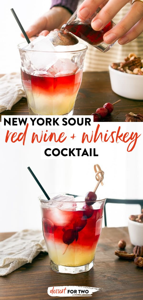 New York Sour: a cocktail recipe that uses whiskey, red wine, and bright and tangy lemon syrup. #cocktail #whiskey #redwine #whiskeysour #drinks #drink