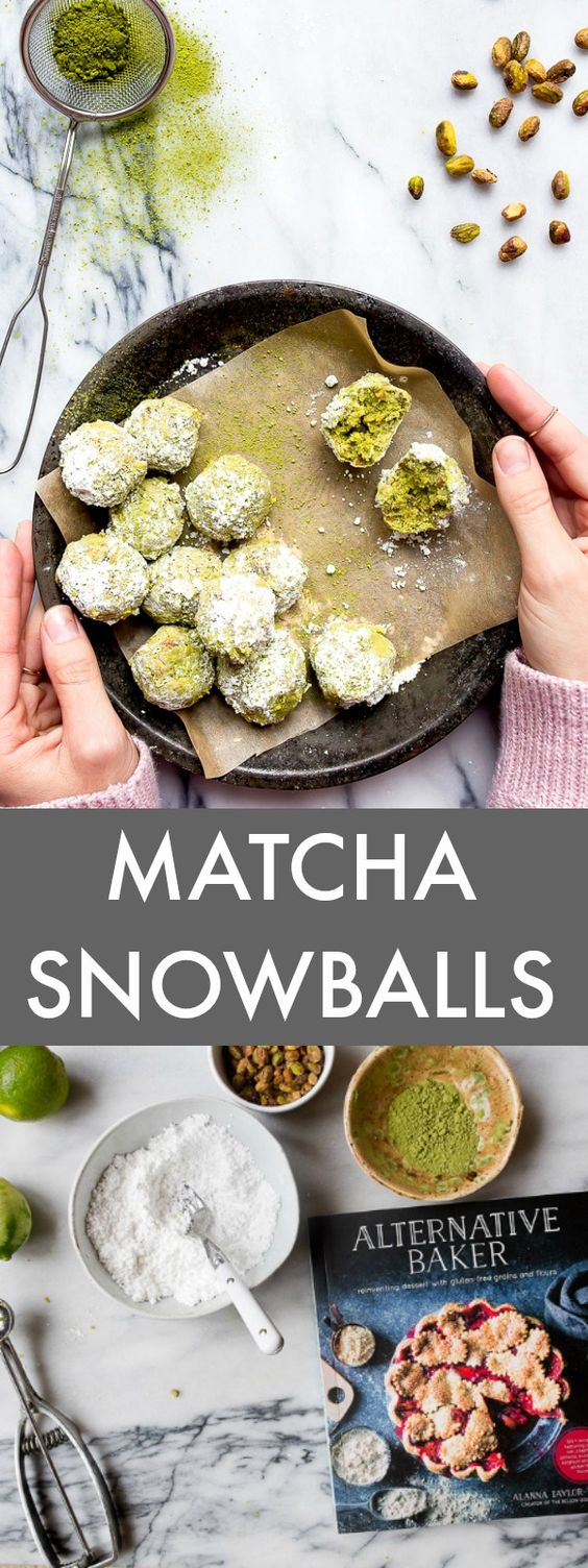Snowball cookie recipe made with matcha, pistachios and lime zest. So Grinchy, and I love it! Also called russian tea cakes or polvorones.