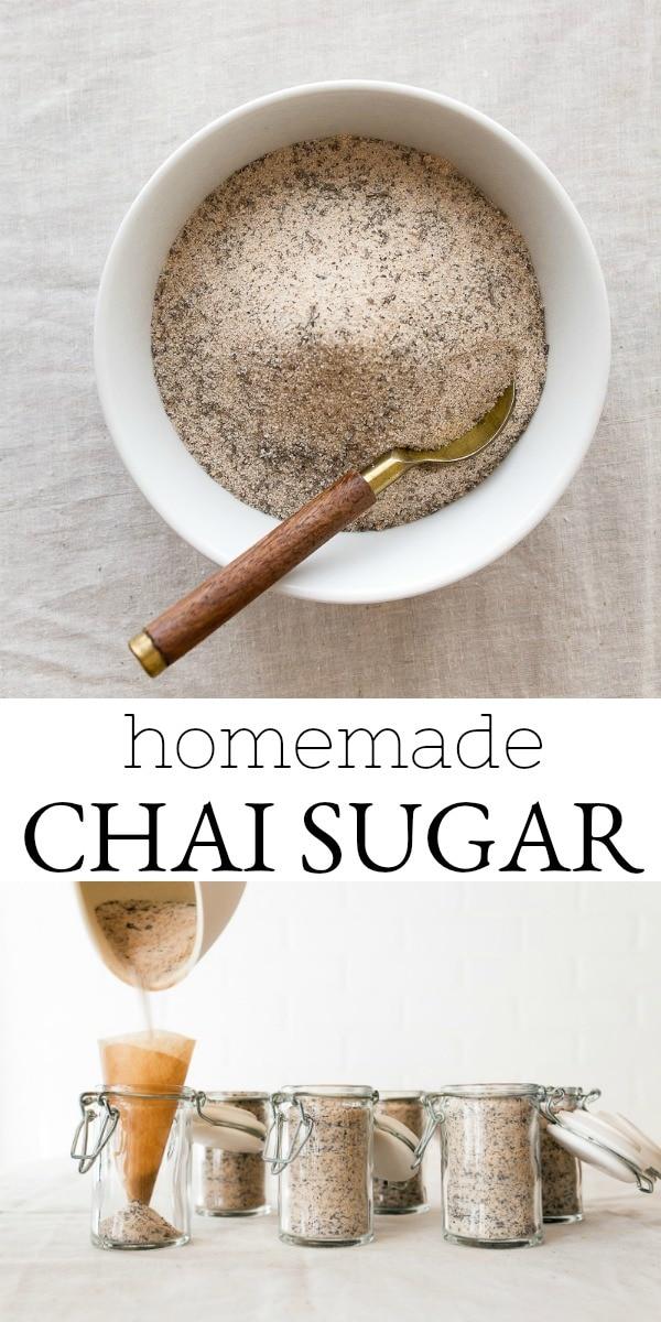 Chai sugar jars, a fun homemade gift! #chai #chaispice #homemade #homemadegift #ediblegift #sugarjars #sugarscrub