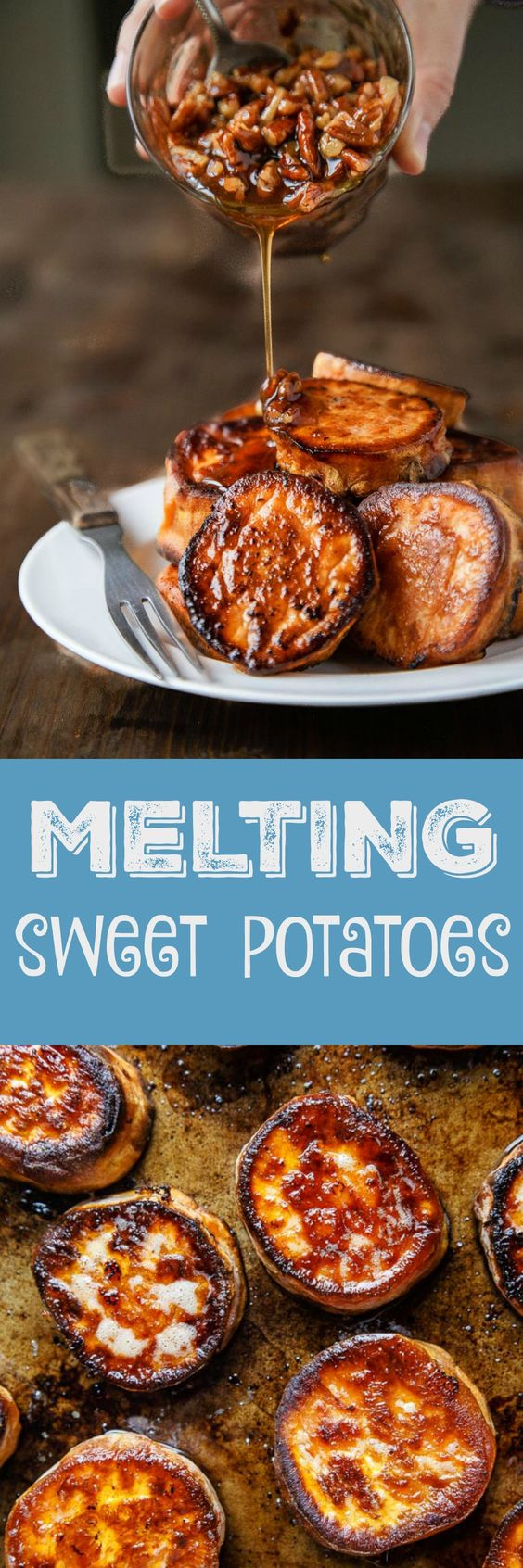 Melting Sweet Potatoes with Maple Pecan Sauce. Perfect roasted sweet potatoes with a sweet maple sticky sauce. Like regular melting potatoes, but made with sweet potatoes!