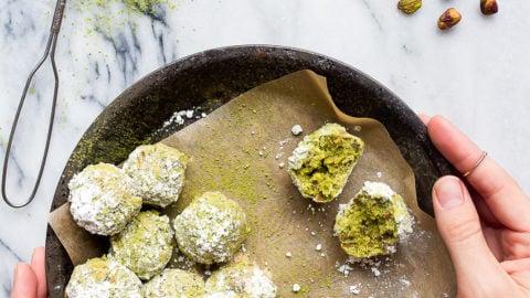 Matcha Lime Pistachio Snowball Cookies