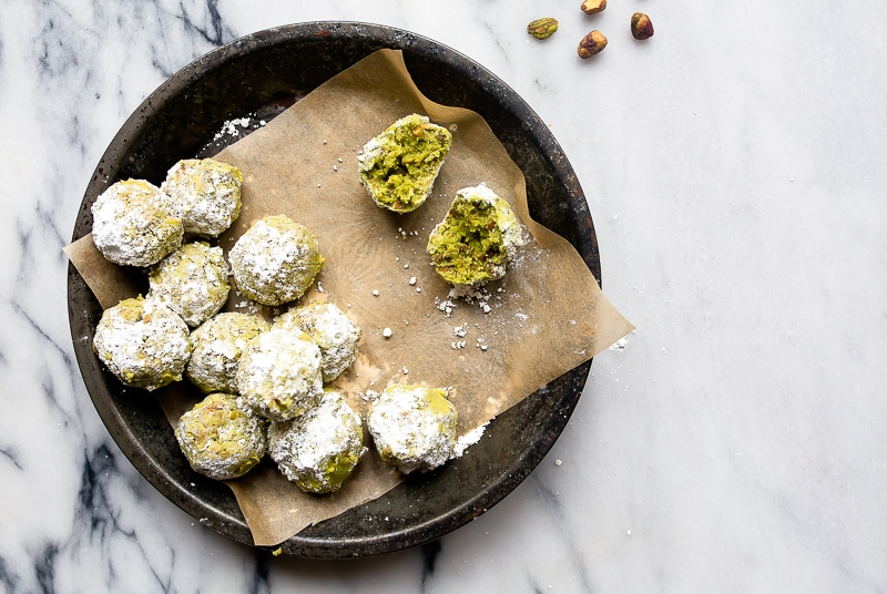 Matcha Butter Cookies with Lime and Pistachios