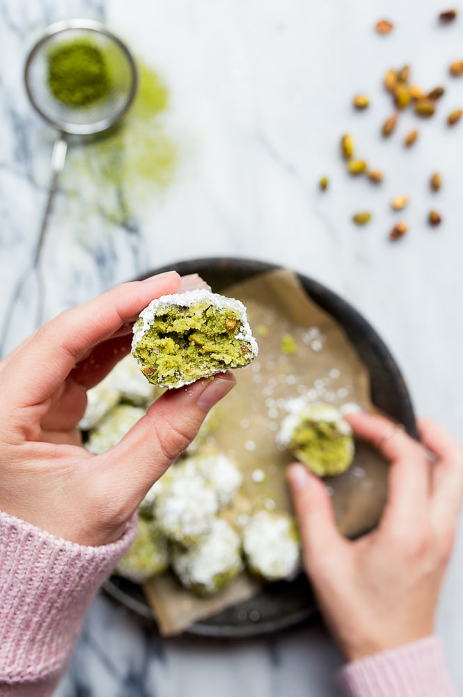 Mexican Wedding Cookies made with Matcha, Lime, and Pistachios