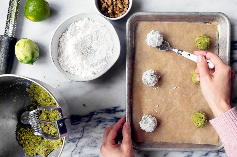 Russian Tea Cakes (Snowball Cookies) made with Matcha and Lime
