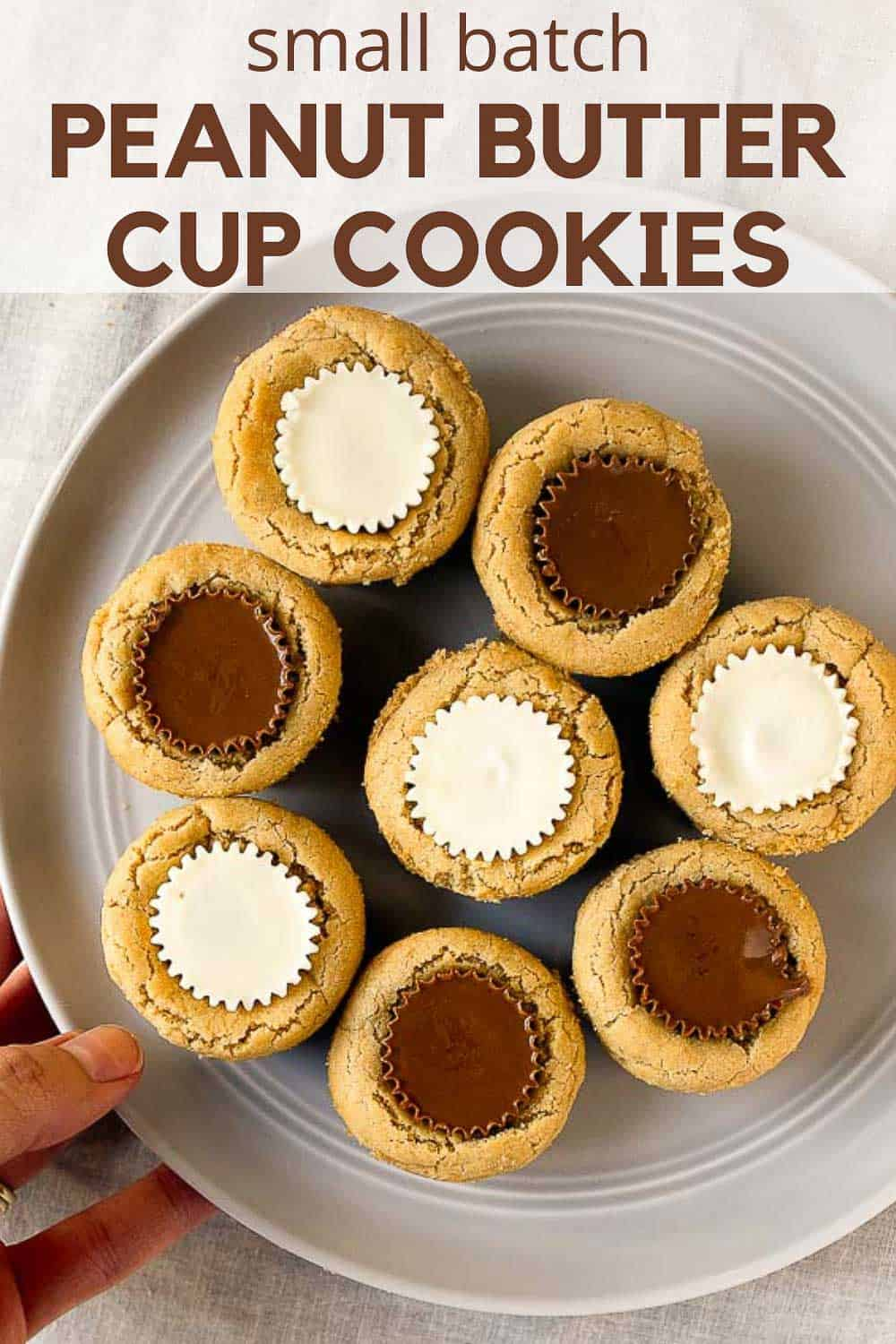 Peanut butter cup cookies made with Reese's in mini muffin pan. Small batch peanut butter cookie cups, makes 8 cookies.