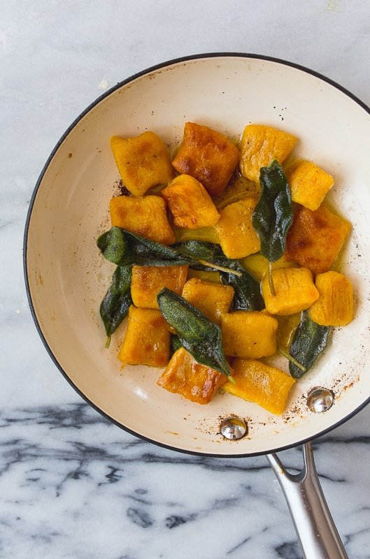 Pumpkin Gnocchi Pasta with Fried Sage for Two.
