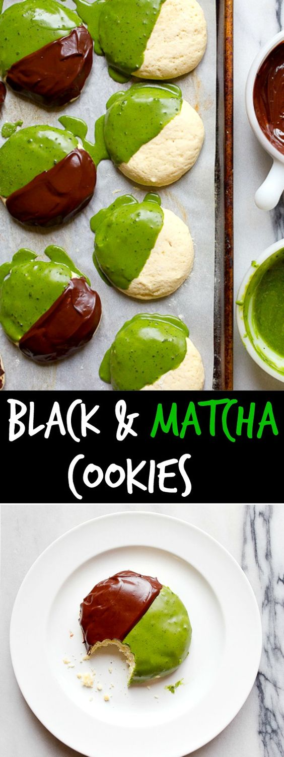 Matcha cookies dipped in dark chocolate. Black and white cookie recipe made with matcha tea.
