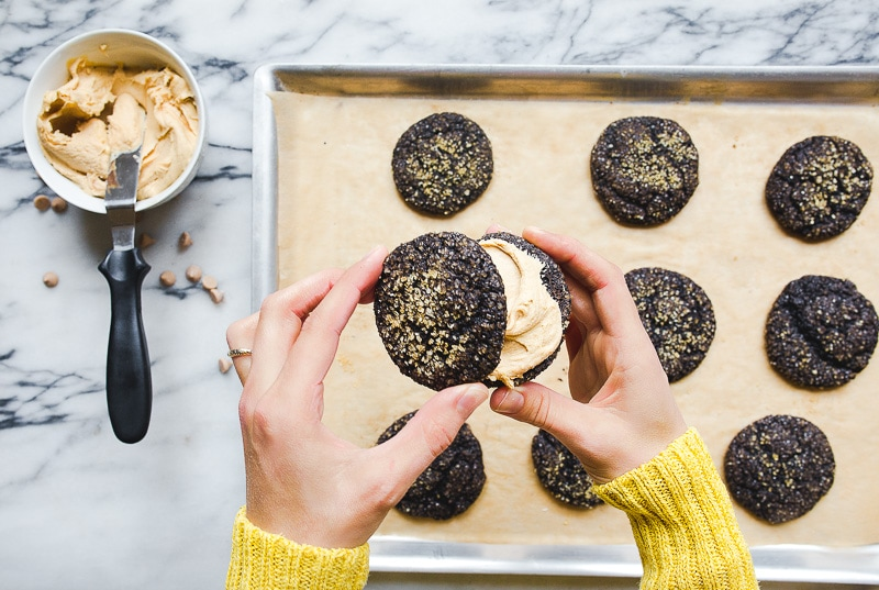 Chocolate Sandwich Cookies: Chocolate crinkle cookies with salted caramel buttercream filling