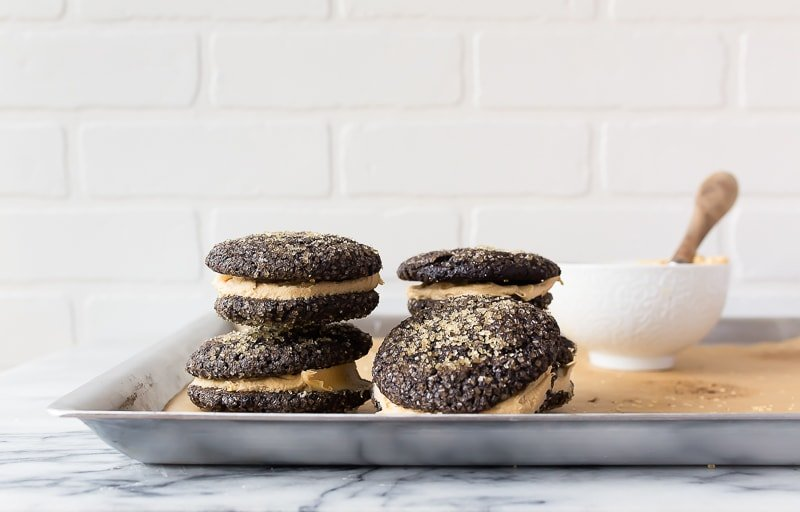 Chocolate Caramel Cookie Sandwiches by Dessert for Two