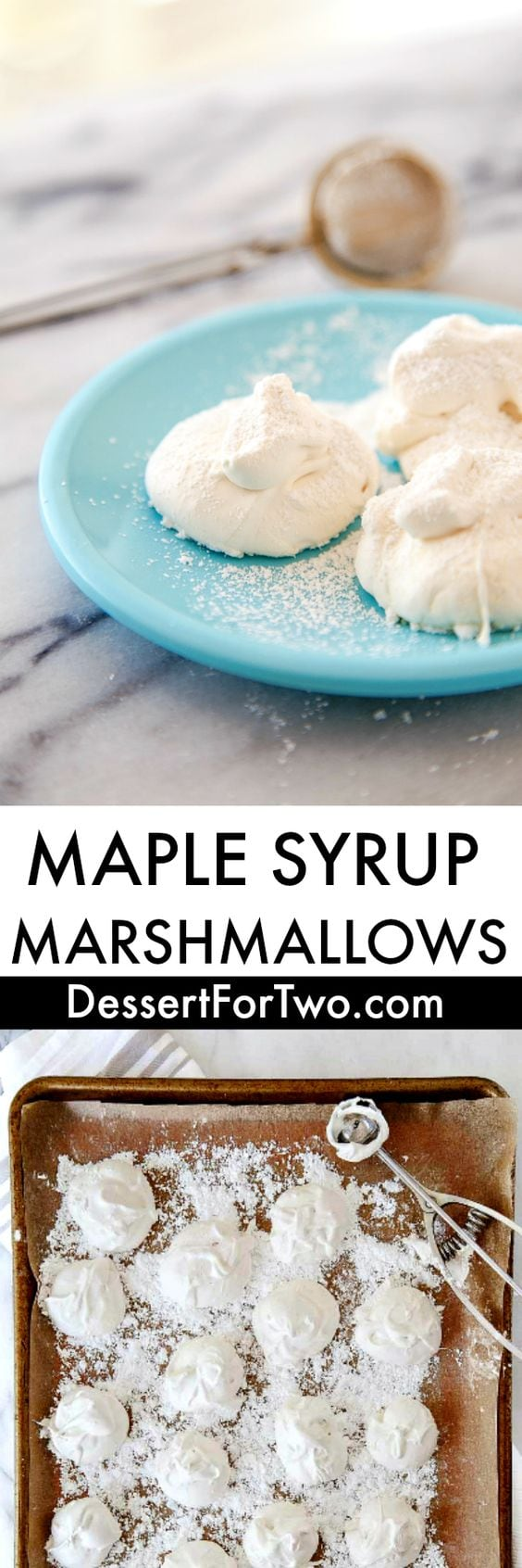 Homemade marshmallows without corn syrup. Use maple syrup to make marshmallows from scratch that you'll feel better about serving your kids. Naturally sweetened marshmallows are made for a mug of hot cocoa or as marshmallow decorations on a cake. Easy homemade recipe for marshmallows from scratch. #marshmallows #naturallysweetened #maplesyrup #homemademarshmallows #nocornsyrup