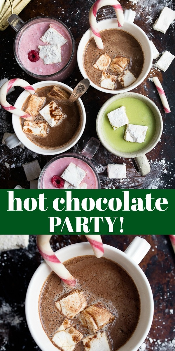 Hot chocolate party time! How to host a host chocolate bar party with different flavors of easy hot chocolate. Classic hot chocolate, raspberry white hot chocolate, and matcha hot chocolate! Hot chocolate made with cocoa powder is the best! #hotchocolate #hotchocolateparty #hotcocoa #hotcocoaparty #cocoapowder #hotchocolatebarparty #hotchocolatebar