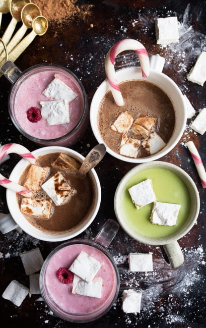 Homemade Hot Cocoa Recipes: raspberry hot cocoa, matcha hot chocolate, and regular hot chocolate recipes.