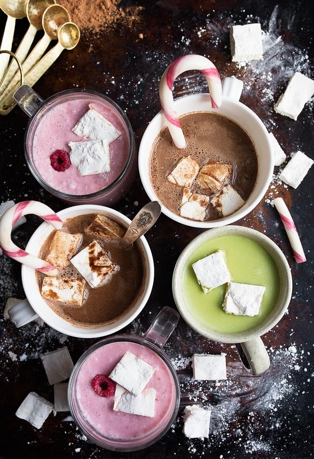Hot chocolate party. Homemade Hot Cocoa Recipes: raspberry hot cocoa, matcha hot chocolate, and regular hot chocolate recipes.