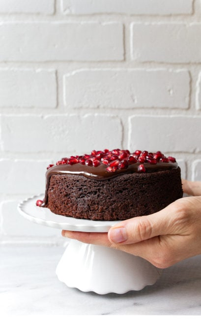 "Small chocolate cake for two. Mini chocolate cake made in a 6"" cake pan for two."