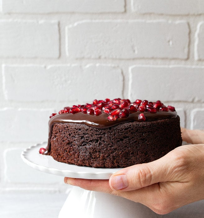 """Small chocolate cake for two. Mini chocolate cake made in a 6"""" cake pan for two."""