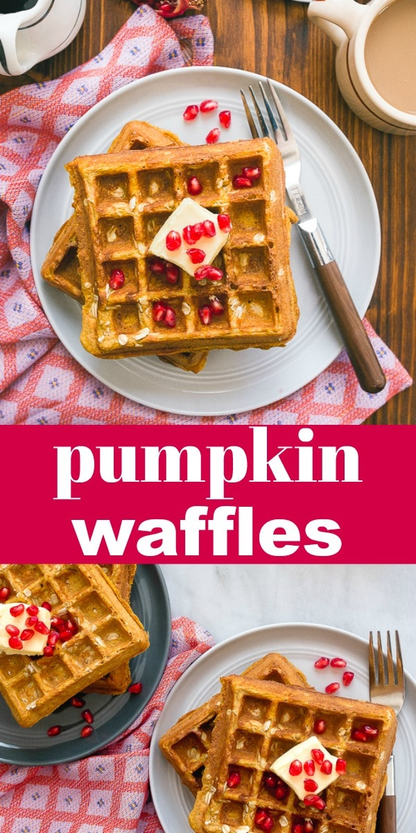 Pumpkin waffles for baby and toddlers! Naturally sweetened, whole grain pumpkin waffles made with whole wheat flour and dairy-free! #pumpkin #pumpkinwaffles #pumpkinspice #pumpkinspicewaffles #healthy #healthywaffles #dairyfree #wholewheat #breakfast #brunch