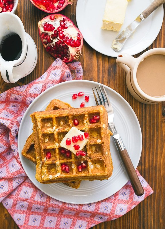 Healthy Waffles Recipe made with Whole Wheat Flour, Pumpkin and Oats