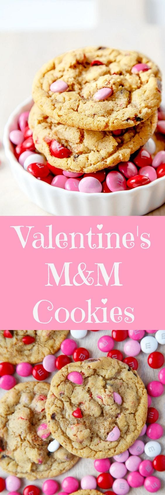 MM cookies with Valentine's Day m&ms. Small batch cookie recipe.