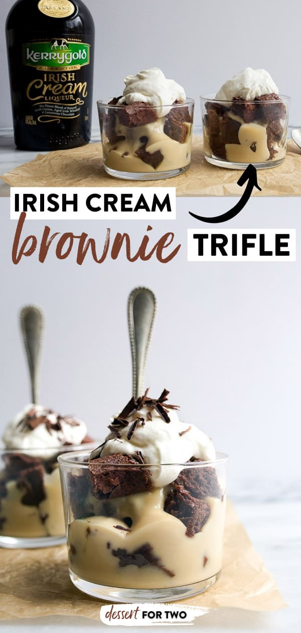 Brownie trifle with Irish Cream pudding. Bailey's brownies trifles layered with irish cream pudding, whipped cream and chocolate shavings. Serves two!