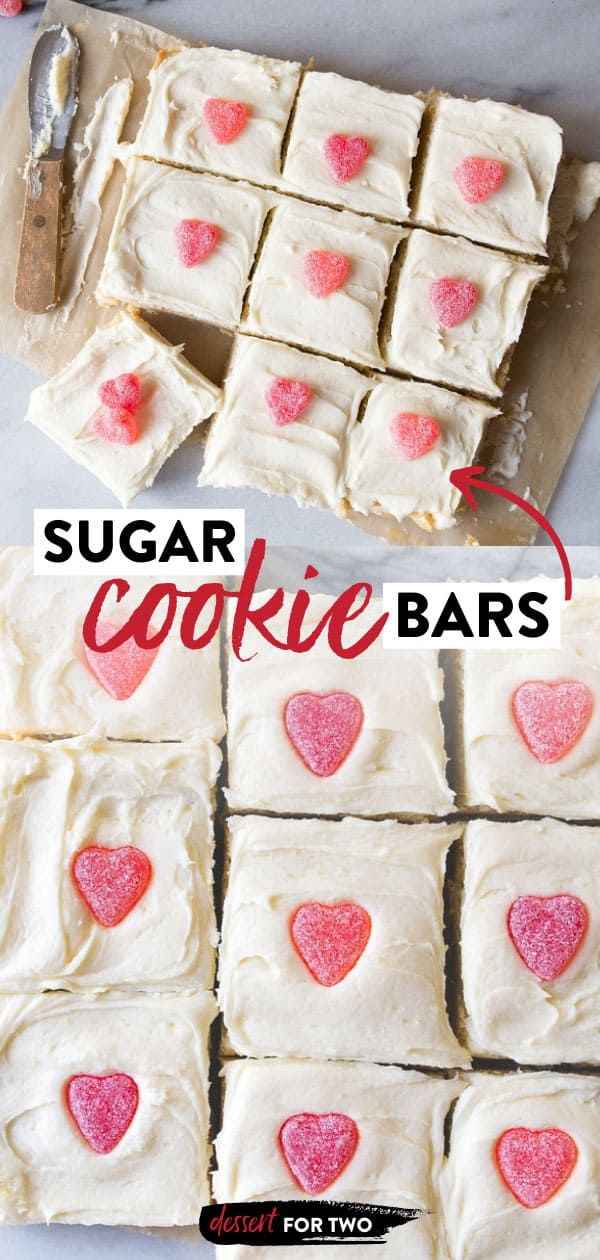 Sugar cookie bars, small recipe made in a 8x8 square pan for a Valentine's Day dessert for two. #sugarcookiebars #sugarcookies #valentinesday #valentinesdaydesserts