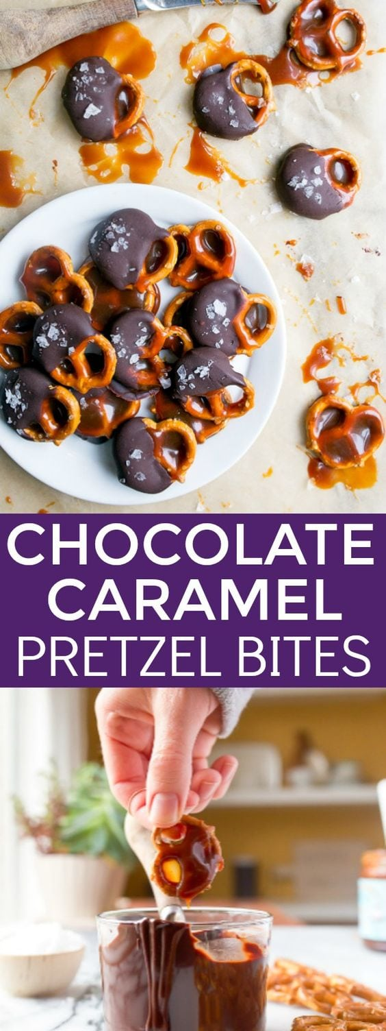 Chocolate caramel pretzel bites recipe made with salted caramel sauce and chocolate. The best sweet and salty 15 minute snack!