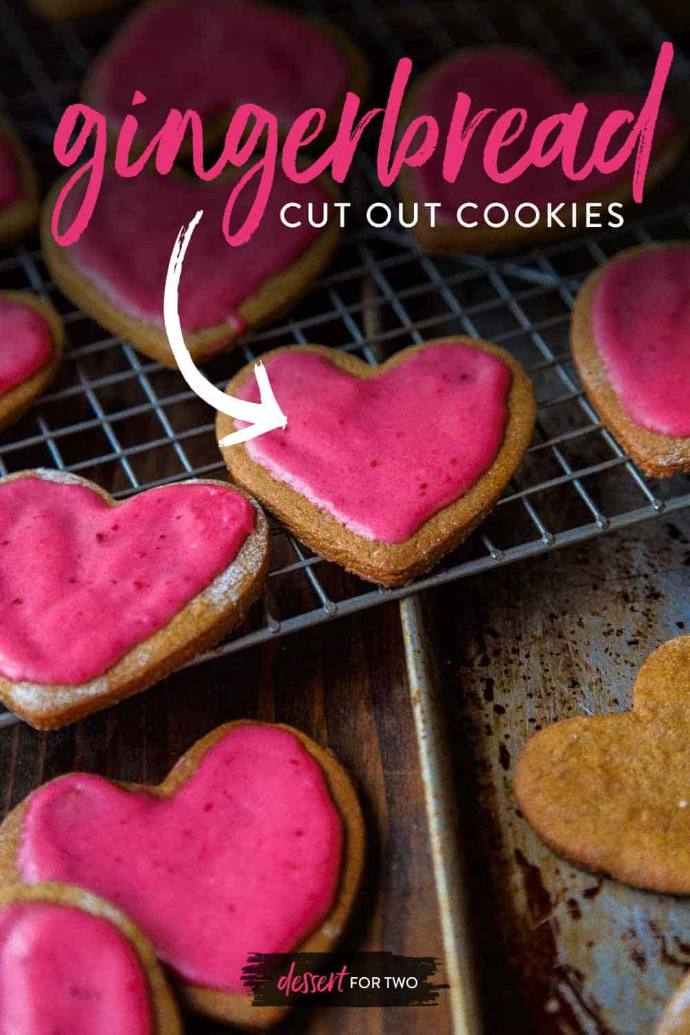 Gingerbread Cut Out Cookies with fresh ginger, orange zest, and a hot pink fresh cranberry glaze.
