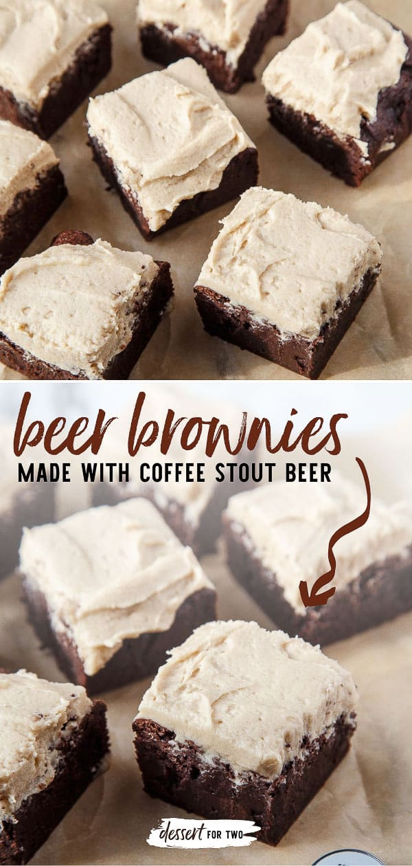 Beer brownies made with coffee stout beer. Your Valentine wants his brownies made with beer. Brownies for two featuring your favorite beer.