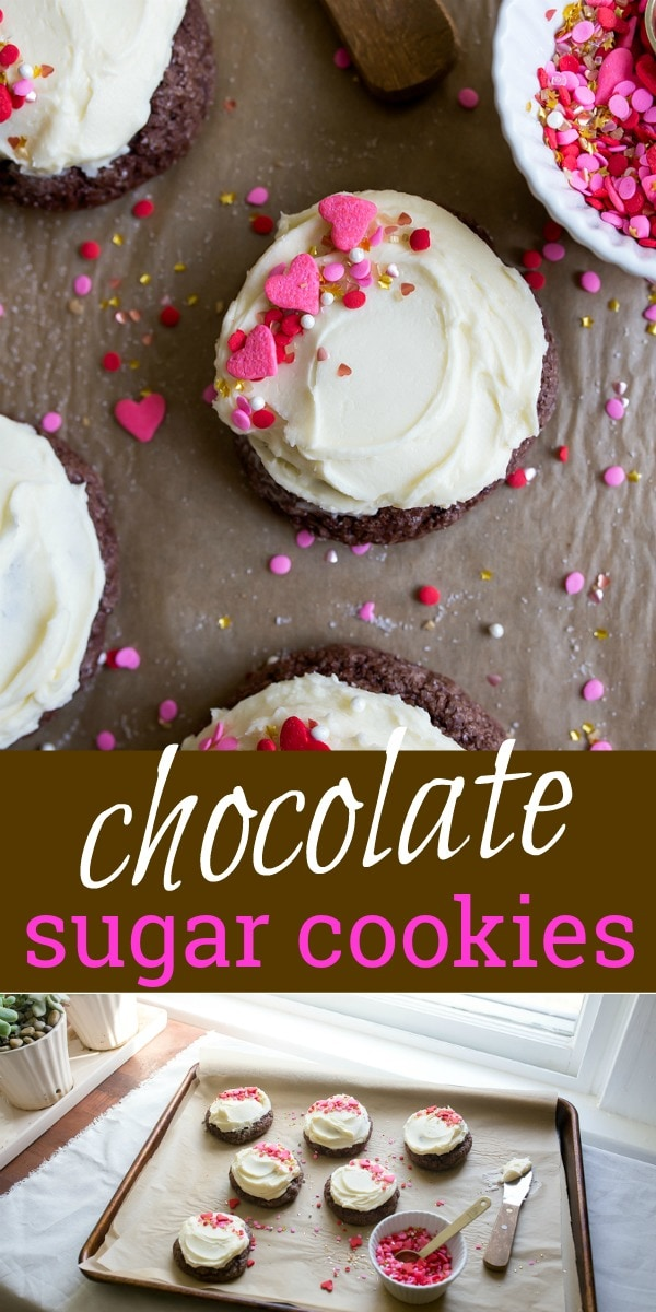 Chocolate sugar cookies with buttercream frosting and sprinkles! Half dozen chocolate sugar cookies for Valentine's Day dessert for two. #chocolate #sugarcookies #chocolatesugarcookies #valentinesday #dessert #dessertfortwo #smallbatch #cookies #chocolatecookies #smallcookies #smallbatchcookies #cookiesfortwo #halfdozen