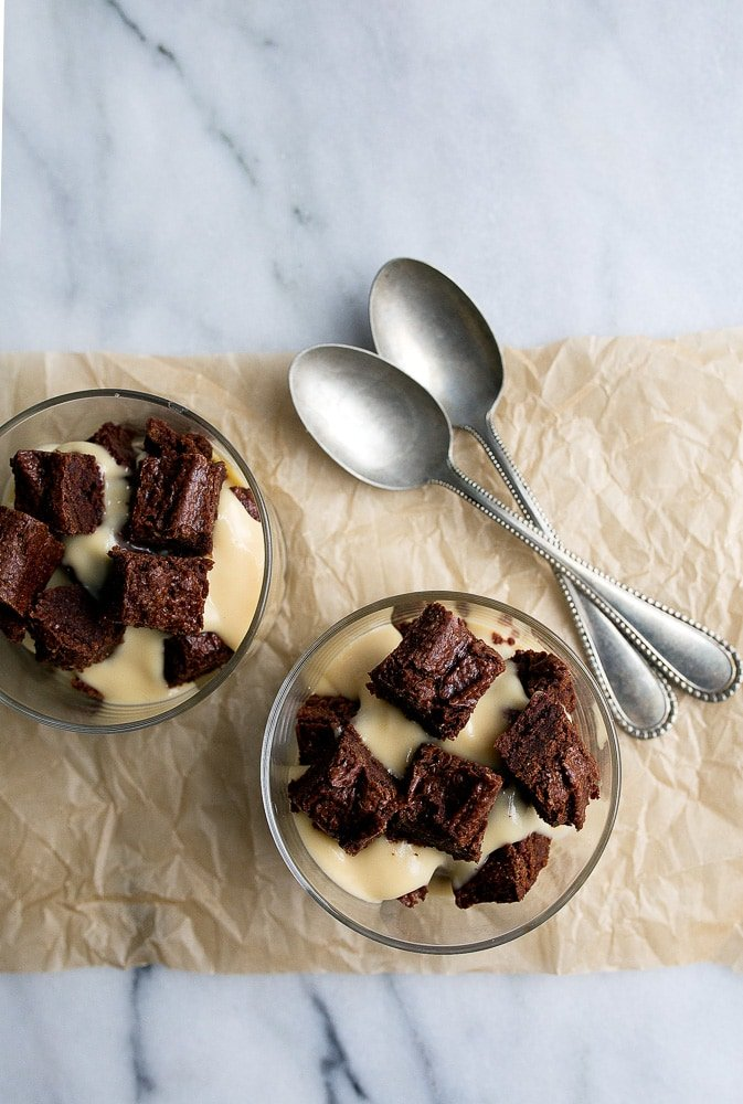 Irish cream pudding brownie trifle: dessert for two