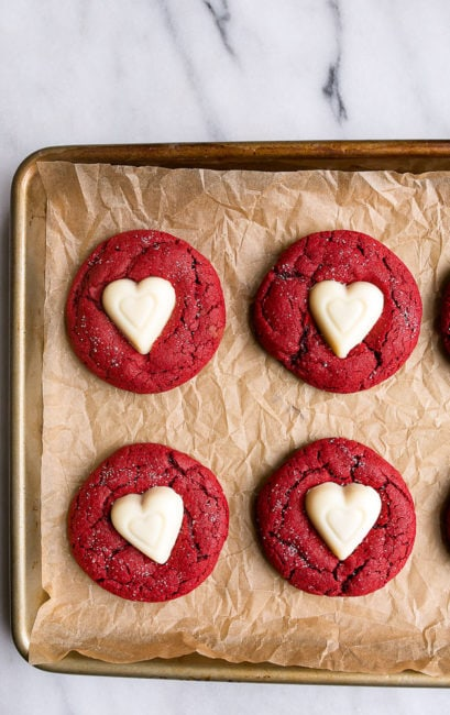 Red Velvet dessert for Valentine's Day: red velvet sugar cookies.