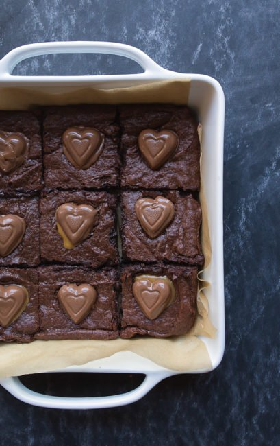 Chocolate Caramel Brownie Hearts for Valentine's Day Dessert