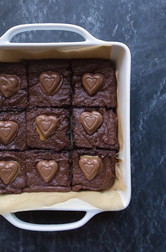Chocolate Caramel Brownie Hearts for Valentine's Day Dessert