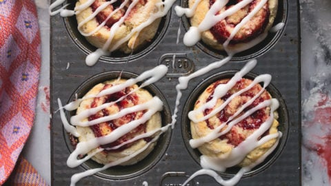 Quick and easy cinnamon rolls: no yeast, small batch, made with jam