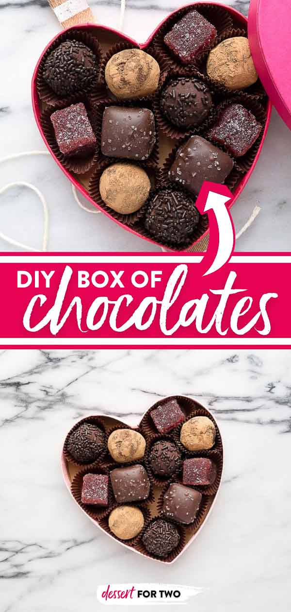 Red wine chocolate truffles in a homemade box of chocolates! Cute homemade Valentine's Day gift idea.