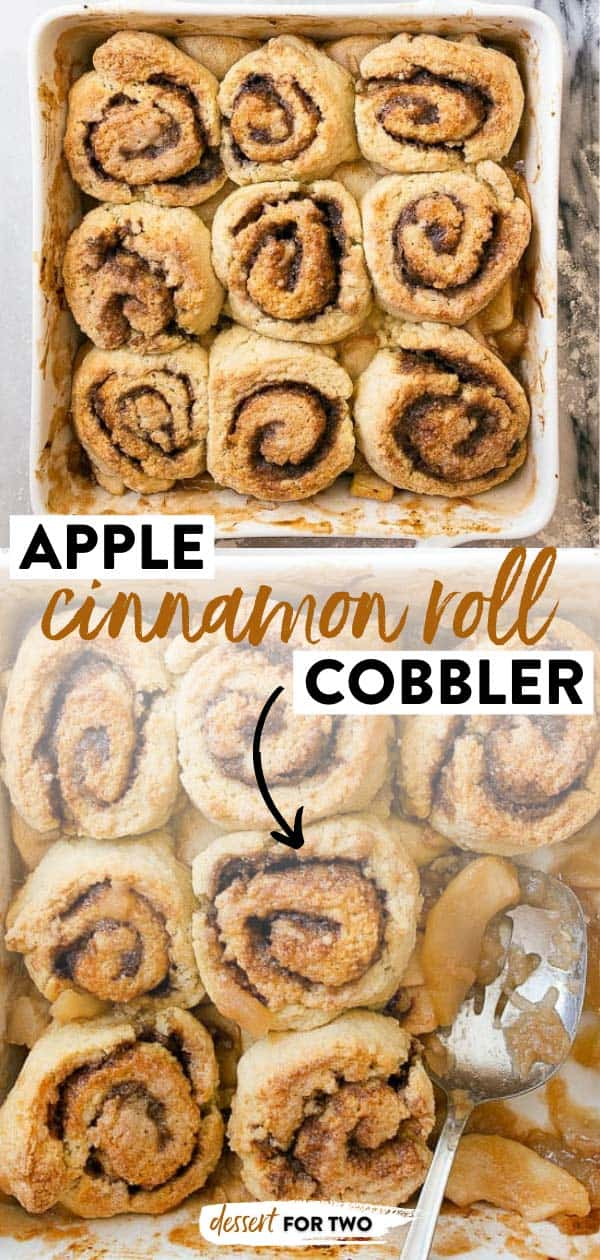 Cinnamon Roll Cobbler with Apple Pie Filling. Perfect breakfast meets dessert!