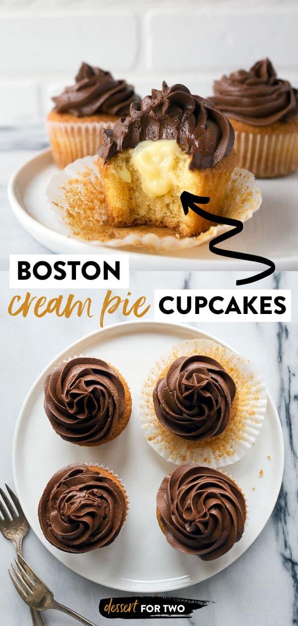 Boston Cream Pie Cake Cupcakes! So easy, and a small batch! Boston Cream Pie Cupcakes for Two. #bostoncream #bostoncreampie #bostoncreampiecupcakes #cupcakes #smallbatch #cookingfortwo #cookingforone #bakingfortwo #dessertfortwo