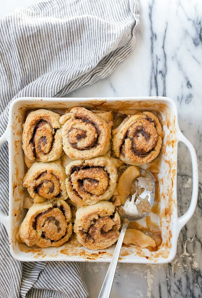 Cinnamon Roll Cobbler with Apple Pie Filling