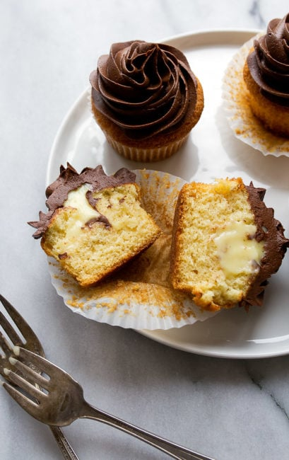 Pastry cream filled cupcakes with chocolate ganache frosting