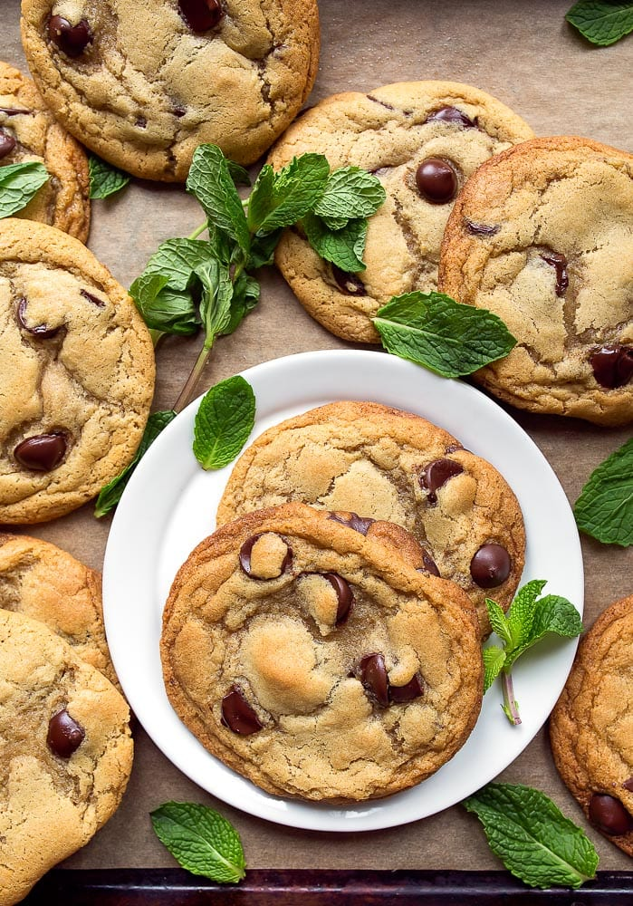 Homemade chocolate chip cookies made with mint leaves. Fresh mint chocolate chip cookies