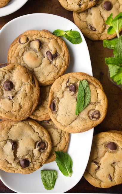 Chocolate chip cookie recipe with mint leaves