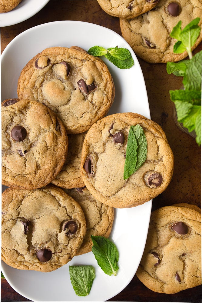 Mint Chocolate Chip Cookies made with mint infused butter!