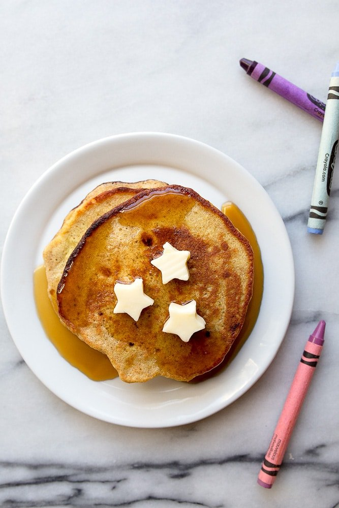 Easy banana pancakes for kids or toddler food. Just 3 ingredient recipes for kids